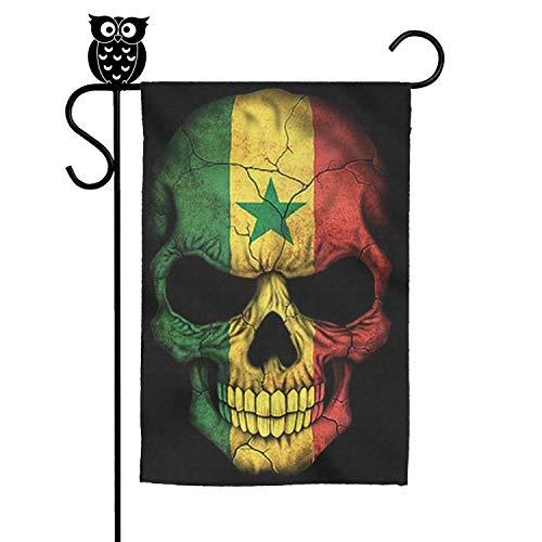 eatfoodcdk Garden Flag Dark Senegal Flag Skull Art Personalized 11.8