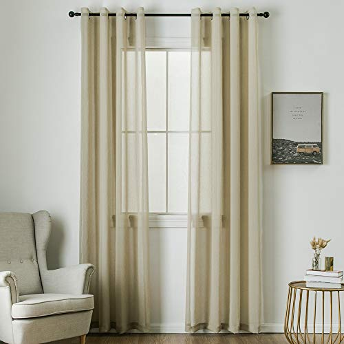 MIULEE 2 Panels Brown Semi Sheer Window Curtains Elegant Grommet Top Window Voile Panels/Drapes/Treatment Linen Textured Panels for Bedroom Living Room (54X84 Inches)