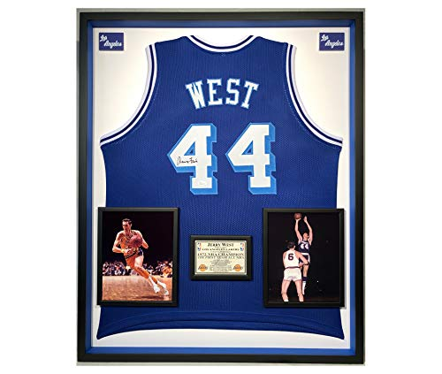 Premium Framed Jerry West Autographed/Signed Los Angeles Lakers Jersey - JSA COA