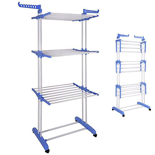 Bonnlo 3-Tier Foldable Clothes Drying Rack Rolling Laundry D
