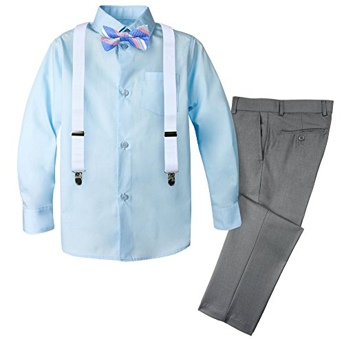 Spring Notion Boys' 4-Piece Patterned Dress up Pants Set 6 Grey/Cool Blue