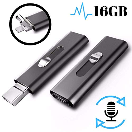 Voice Activated Recorder - Digital USB Flash Drive | 16GB - 196 Hours Capacity | Long-Lasting 26 Hours Battery | Rechargeable Audio Tape Recording Device | Wireless Portable Microphone Sound Recorders
