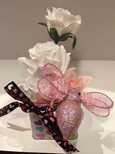 VALENTINE BOX ARRANGEMENT WITH ORNAMENT 3 - PINK GLITTER BUMBLE BEE - WHITE ENCRUSTED HEART - WHITE ROSES - PINK MIXED FLORAL - BLACK RIBBON WITH PINK HEARTS BOW - VALENTINES DAY - I LOVE YOU - UNIQUE -