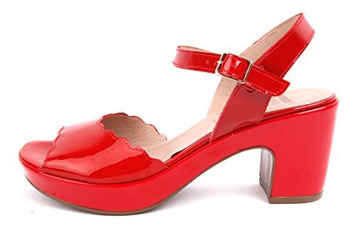 Vraagt zich Af Lakleer F-5820 Rode Sandaal