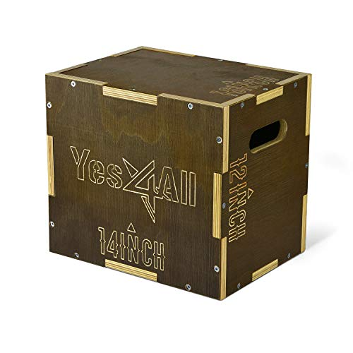 Yes4All Wooden Plyo Box - Vintage - Moss Brown - 16 x 14 x 12