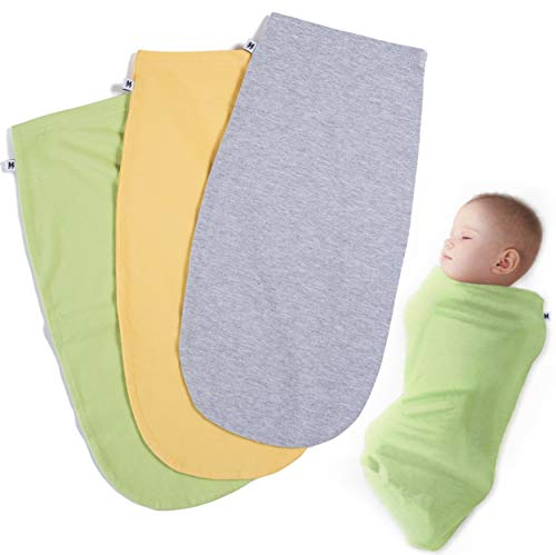 Henry Hunter Baby Swaddle Cocoon Sack | 1, 2, 3 Packs | The Simple Swaddle | Soft Stretchy Comfortable Cotton Blanket for Babies Infants & Newborns 0-3 Months (3 Pack - Green | Yellow | Light Heather)