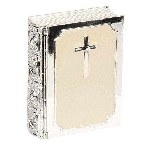 Wooden Bible Box - Oaktree Gifts Bible Silverplated & Cream Epoxy Trinket Box