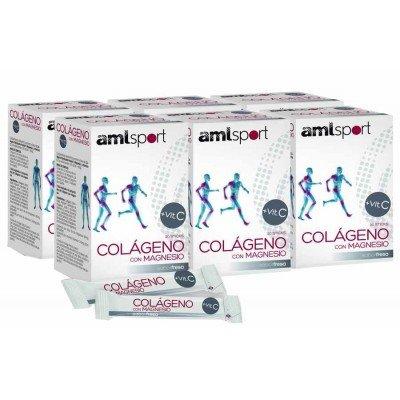 AMLSPORT - PACK 6U DE COLAGENO con MAGNESIO VIT C AMLSPORT SABOR FRESA 20 STICK: Amazon.es: Salud y cuidado personal
