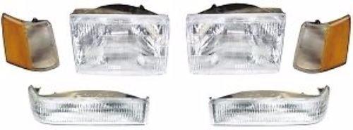 DirectAuto 6 Piece Head Light Set w/Corner & Marker Lights Fits 97-98 Jeep Grand Cherokee