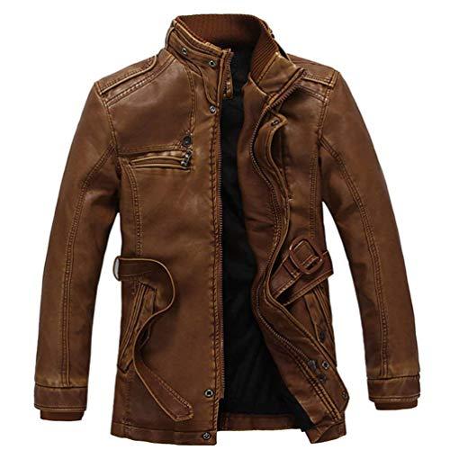 Cappotto Di Pelle Giacca Uomo Giacche Abbigliamento Finta Nner Pu Inverno Braun