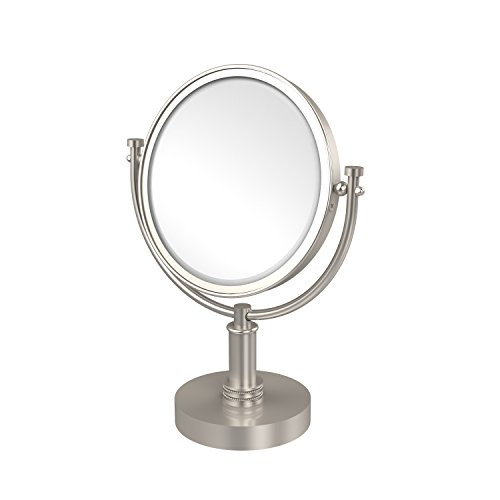 Allied Brass DM-4D/5X-SN 8 Inch Vanity Top Make-Up Mirror 5X Magnification Satin Nickel