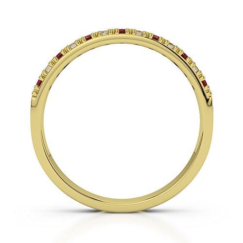 Or jaune 18carats 0.11CT G-H/VS Certifié Coupe ronde Grenat et diamants Agdr-1129