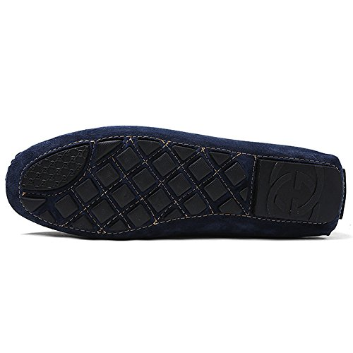 rismart Mens Trendy Suede Driving Loafers Shoes With Metal Decoration Comfortable Carpet Shoes Navy 8028 US8.5 aGTN5ZSE