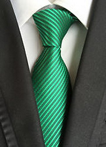 Jacob AleX #47118 Novelty Striped Solid Green JACQUARD WOVEN Silk Men's Tie Necktie