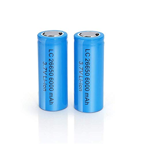 3.7V 26650 6000 mAh Battery Lithium Rechargeable Battery for Rechargeable Applicable for LED Headlights Flashlight Torches Electric Tools Household Electric (2 Pack 26650)
