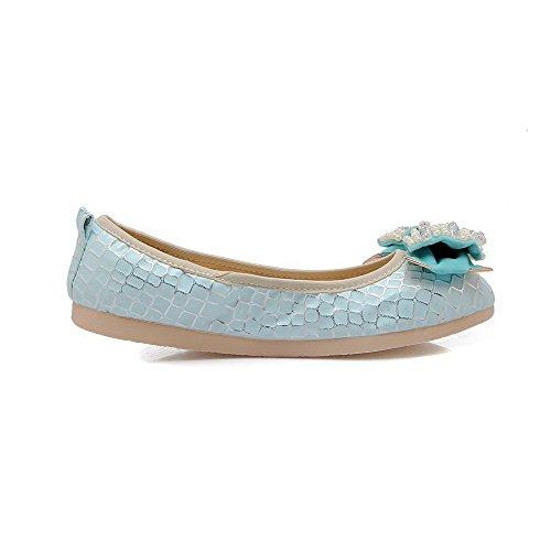 VogueZone009 Damen Rein PU Leder Ohne Absatz Rund Zehe Ziehen auf Flache Schuhe Blau