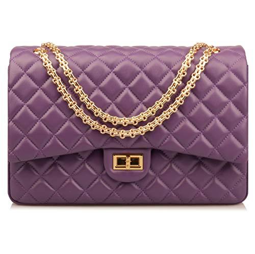 (Ainifeel Women's Quilted Oversize Genuine Leather Shoulder Handbag Hobo Bag Purse (X-Large, Purple gold hardware))