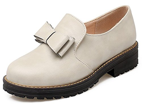 With Top Women's Oxfords Gray Heels Low Bows Sweet Boots Idifu Slip Chunky On Shoes HgCUqFFpw