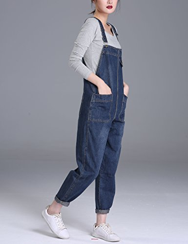 Yeokou Women's Casual Denim Cropped Harem Overalls Pant Jeans Jumpsuits, Blue, X-Large by Yeokou (Image #1)
