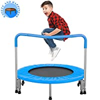 BestMassage Trampoline Kid Trampoline Portable Trampoline for Kids with Handrail and Padded Cover Rebounder Jumping Mat Safe for Kid w/Padded 36 Inch Trampoline Fitness Equipment