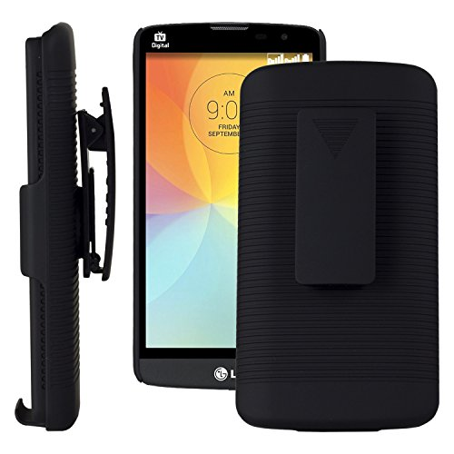 SOJITEK LG L Bello Black Holster Case 2 in 1 Hybrid Hard Shell Holster Combo With Kickstand & Belt Clip