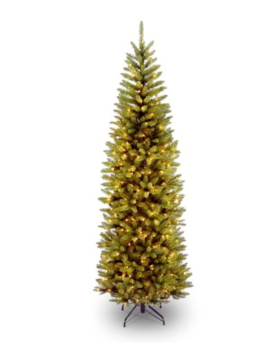 National Tree 7.5 Foot Kingswood Fir Pencil Tree with 350 Clear Lights, Hinged (KW7-300-75) Slim Christmas Trees