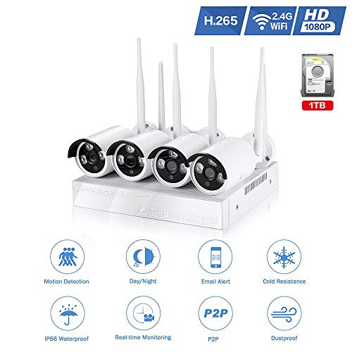 4Pcs 1080P Wireless Security Camera System,2 Megapixel Outdoor/Indoor Bullet IP Camera+4CH 1080P NVR with 1TB HD Pre-Installed,Weatherproof Night Vision CCTV Surveillance Camera Kit for iOS&Andriod Review