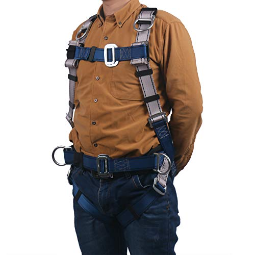 JINGYAT Full Body Safety Harness Fall Protection with 5 D-Ring,Universal Personal Protective Equipment (130-400 pound),Construction Industrial Tower Roofing Tool by JINGYAT (Image #5)