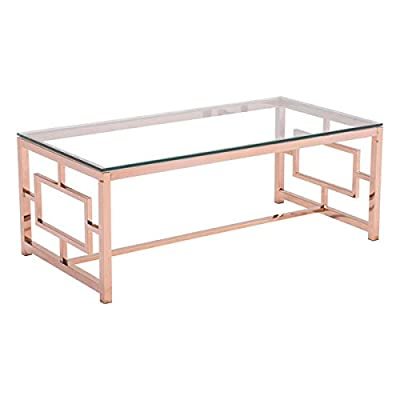 Zuo Modern Geranium Coffee Table, Rose Gold - Product Type: Coffee table Product Finish: polished Stainless Steel Year Introduced: 2015 - living-room-furniture, living-room, coffee-tables - 41a5FJaDIfL. SS400  -