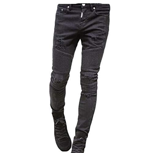 Junkai Pantaloni Jeans Con Zip Skinny Elasticizzati Uomo Strappati Stretch Sfilacciati Nero