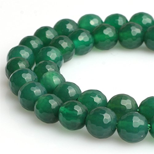Green Agate Set (Joe Foreman Green Agate Beads for Jewelry Making Natural Gemstone Semi Precious 8mm Round Faceted 15