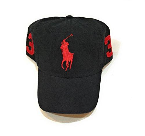 Red Big Pony - Polo Ralph Lauren Men Adjustable Pony Logo Hat (Polo Black/Red Big Pony)
