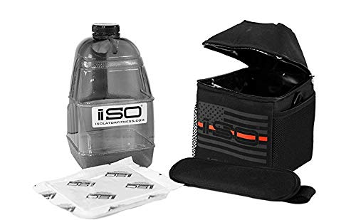 Combo Jugs (ISOJUG COMBO Thin Red Line - Insulated One Gallon Water Jug Cover Holder AND One BPA Free Gallon Jug with ISOBRICK Ice Pack & Shoulder Strap)