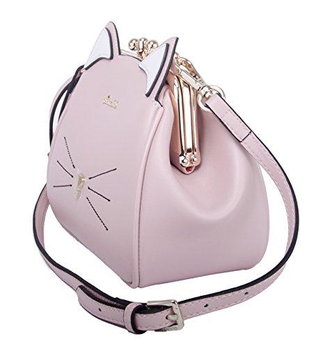 Niña para Gato Bag Negro Bolsa Bandolera Piel Animales Pequeña Bolsos Mujer Imitación Hombro de Rosa de 6wdxc8qO