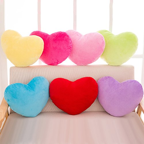 EA-STONE 30cm Multi-Colored Heart Shape Decorative Throw Pillow,Soft PP Cotton Cushion Stuffed Plush Toy for Sofa Office Home Decor Best Gift for Woman Girl (Yellow)