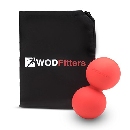 WODFitters Double Lacrosse Ball Peanut Massage Ball for Thoracic Spine - Foam Roller Ball with Carrying Case - Black Friday Sale Cyber Monday Deal Christmas Gift Stocking Stuffer (Red) (Sale Black)