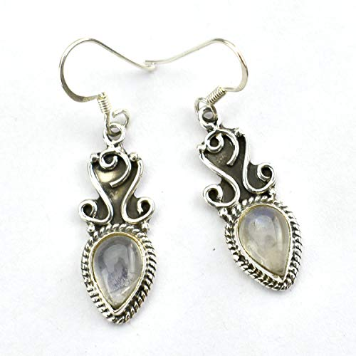 (Genuine Pear Shape Gemstone 925 Sterling Silver Handmade Rainbow Moonstone Fashion Dangle Earrings Jewelry)