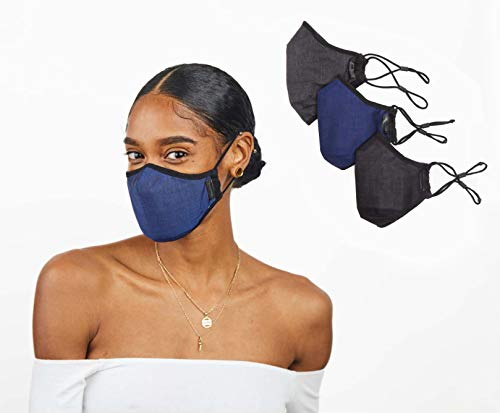 Damon 3D Advanced PM0.1 Filtration Face Mask with Silvadur, Black/Navy/Charcoal, Adult X Large (Pack of 3)