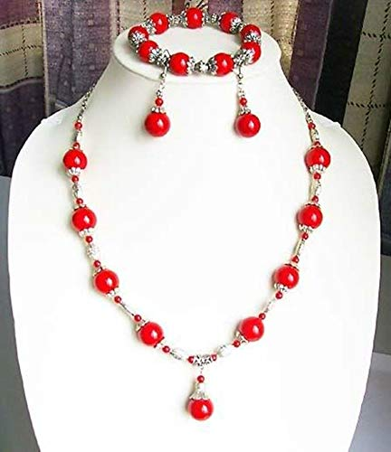 - Fashion Jewelry Set | Tibet Silver Coral Beads Necklace & Bracelet Set