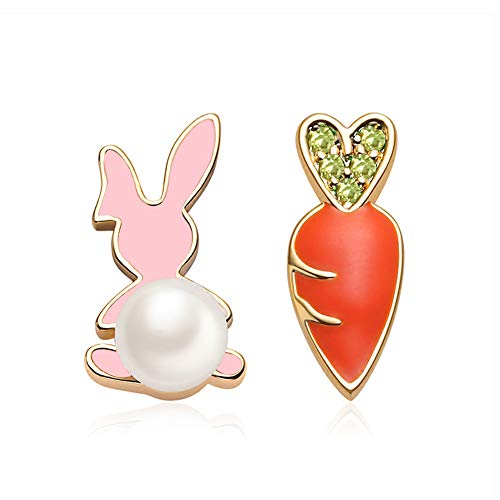FAMARINE Rabbit Bunny Carrot Stud Earrings Crystal Pearl Cute Funny Earring for Teen Girls Women Kids Children Gifts
