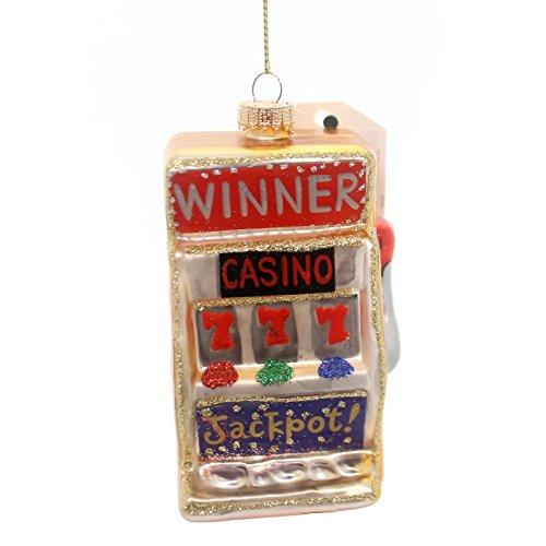 Holiday Ornaments SLOT MACHINE Glass Gamble Coin Token Winner Cbk35596