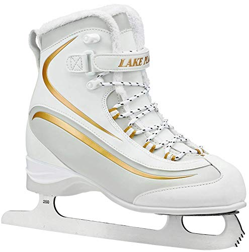 Boot Soft Skates Ice - Lake Placid Everest Women's Soft Boot Figure Ice Skate, White/Gold, Size 9