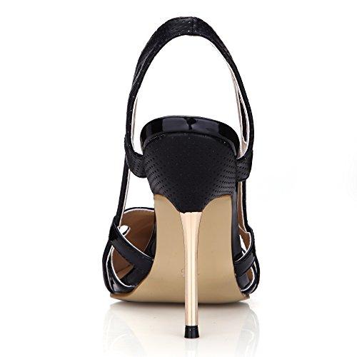 Delfino Donne Pompe 11cm Informale Alti Vestito Tacchi Serata Sm00047 Nere Nero Di Modo Delle Spillo Brevetto A Sandali Scarpe WnnA1r4