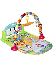 MooToys Kick and Play Newborn Toy with Piano for Baby 1-36 Month, Lay and Play, Sit and Play, Activity Toys, Play Mat Activity Gym for Baby. Blue (MT-103)