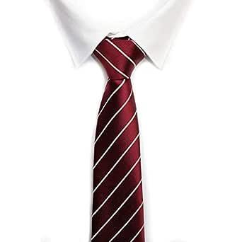 Corbata burdeos raya fina blanca: Amazon.es: Ropa y accesorios