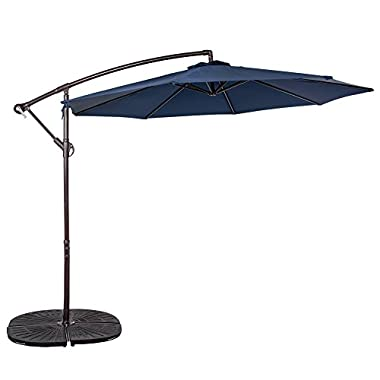 Sundale Outdoor 10 Feet Aluminum Offset Patio Umbrella with Crank, 8 Steel Ribs (Navy Blue)