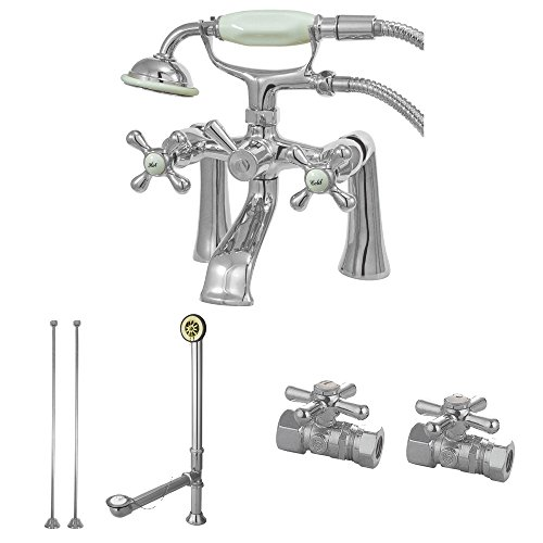 Kingston Brass CCK268C Vintage Deck Mount Clawfoot Tub Faucet Package, Polished Chrome