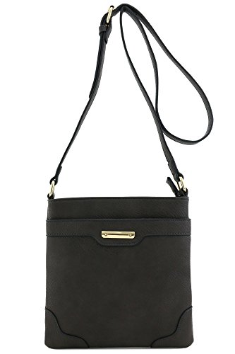 Women's Medium Size Solid Modern Classic Crossbody Bag with Gold Plate (Charcoal Grey)