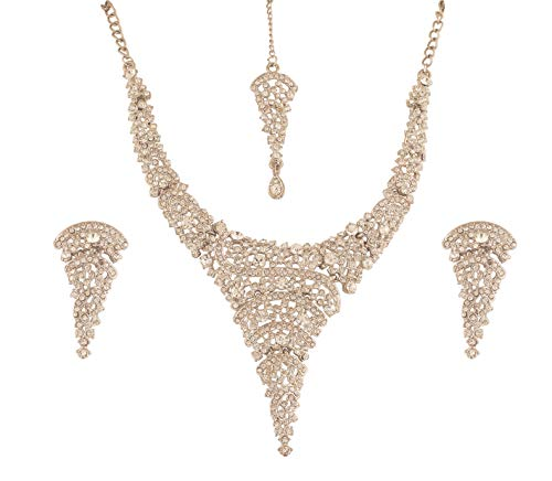 (Touchstone New Fine Faux Jewelry Collection Indian Bollywood Desire Superbly Crative Style Sparkling White Rhinestones Designer Jewelry Necklace Set in Silver Tone for Women.)