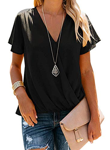 HOTAPEI Womens Shirts and Blouses for Work Short Sleeve Casual Summer Short Sleeve Wrap V Neck Black Chiffon Blouses for Women Fashion 2019 Tops XL